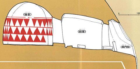『横穴墓の模式図』の画像